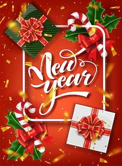 Szablon świąteczny. ozdobny napis kaligraficzny nowy rok. szablon świąteczny plakat.