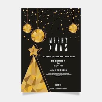 Szablon świąteczny plakat w stylu wielokąta