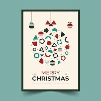 Szablon świąteczny Plakat Z Geometrycznych Kształtów Darmowych Wektorów