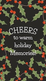 Szablon świąteczny, post na facebooku, wektor sezonu zimowego