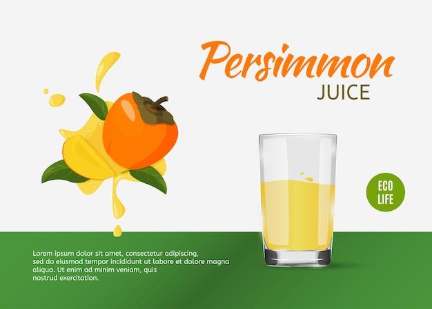 Szablon świeżej persimmon do reklam.