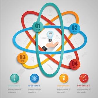 Szablon symbol kreatywnych nauki dla wektor infographic 4 opcje.