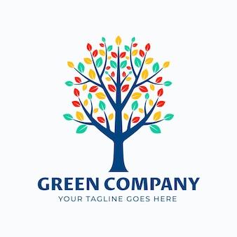 Szablon symbolu logo drzewa życia kolorowe liście