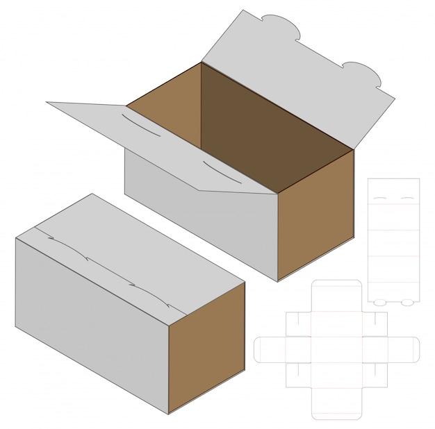 Szablon szablonu wycinany w pudełku. 3d