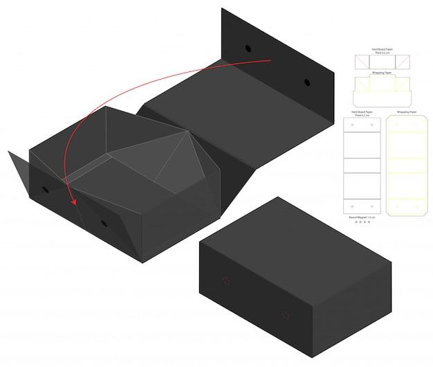 Szablon szablonu wycinany w pudełku. makieta 3d