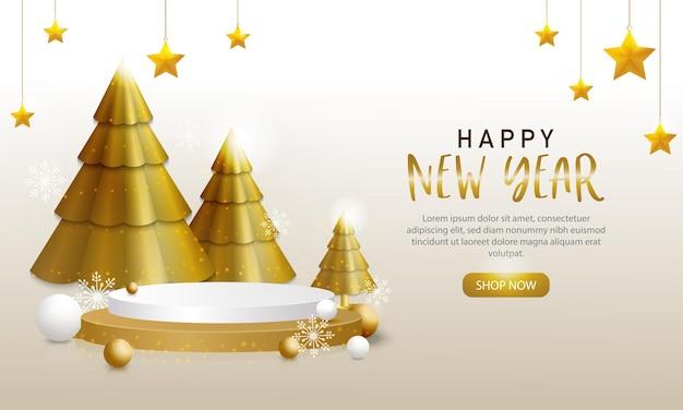 Szablon szczęśliwego nowego roku, złote i białe ozdoby z choinkami i sceną dla twojego produktu