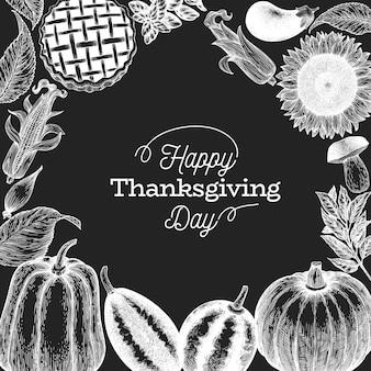 Szablon szczęśliwy dzień dziękczynienia. ręcznie rysowane ilustracje na tablicy kredą.