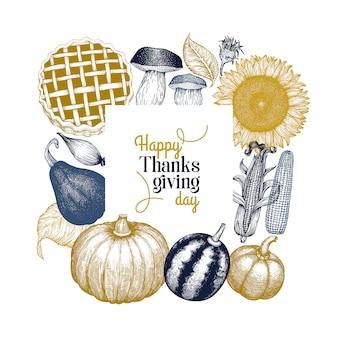 Szablon szczęśliwy dzień dziękczynienia. ręcznie rysowane ilustracje.