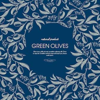 Szablon szkic streszczenie naturalny produkt z tekstem i zielone gałązki oliwne na niebiesko