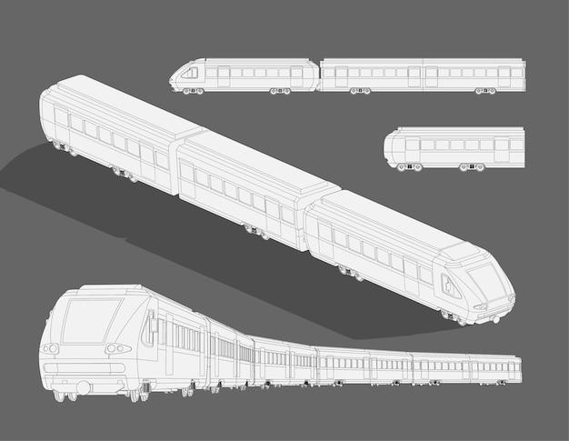 Szablon szkicu realistyczny parowy nowoczesny szybki pociąg. kolorowanka model 3d pociągu. ilustracja kreskówka w czerni i bieli. papier do kolorowania, strona, książka z bajkami.