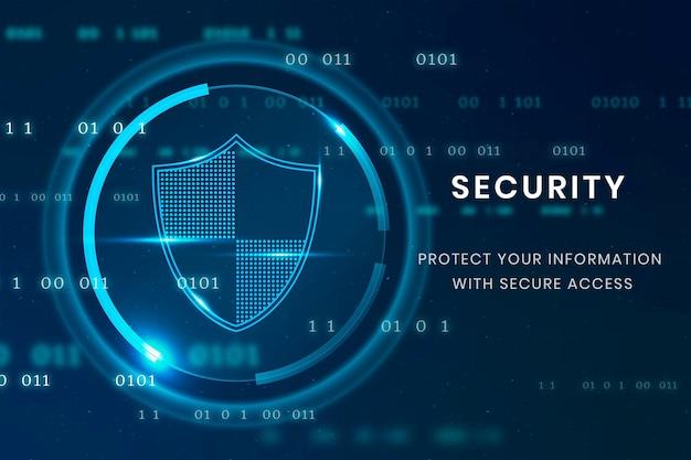 Szablon technologii bezpieczeństwa danych z ikoną tarczy
