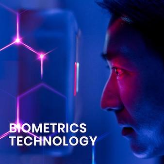 Szablon technologii biometrycznej z mężczyzną skanującym jego oczy w tle