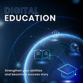 Szablon technologii edukacji naukowej wektor post w mediach społecznościowych
