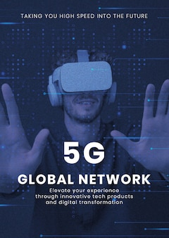 Szablon technologii sieci 5g wektor komputer biznesowy plakat