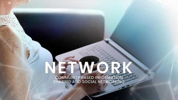Szablon technologii sieciowej z kobietą korzystającą z laptopa w tle