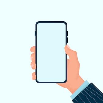 Szablon telefonu komórkowego. wręcza mienia smartphone z pustym ekranem odizolowywającym na głębokim tle. płaski styl. kolor ilustracji. szablon strony internetowej i aplikacji.
