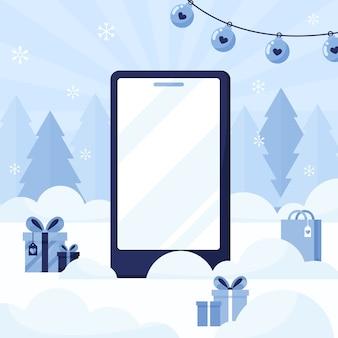 Szablon telefonu z pustym ekranem na tle nowego roku i świąt bożego narodzenia z drzewami i prezentami. niebieski