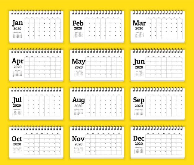 Szablon terminarza kalendarza 2020. zestaw 12 miesięcy.