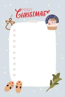 Szablon terminarza w stylu bożego narodzenia. organizator i harmonogram z miejscem na notatki, listę rzeczy do zrobienia, listę życzeń. ilustracji wektorowych.