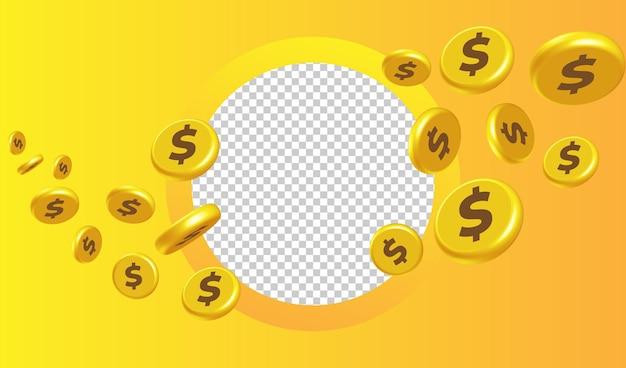 Szablon tła pieniędzy 3d żółty