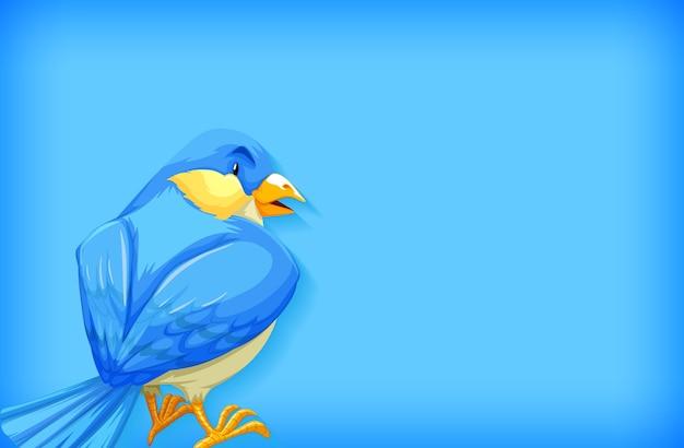 Szablon tła z jednokolorowym i niebieskim ptaszkiem