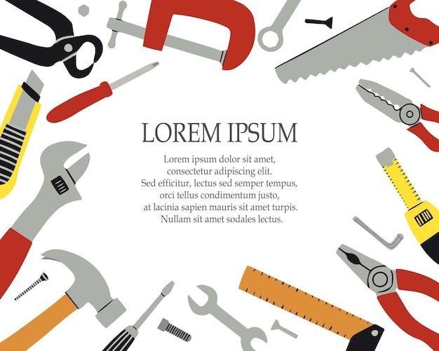 Szablon tła z narzędziami budowlanymi do naprawy domu