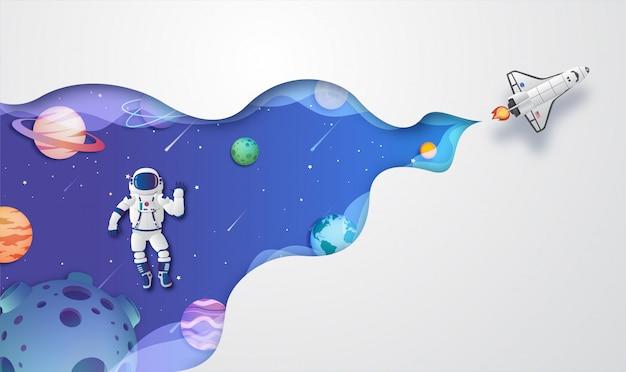 Szablon tło astronautów wędrujących po przestrzeni kosmicznej