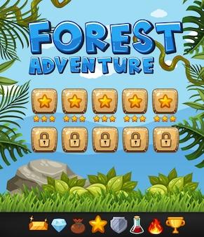 Szablon tło dla gry z motywem przygoda lasu
