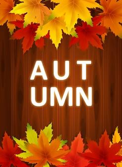 Szablon tło jesień z spadające kilka liści na deskach