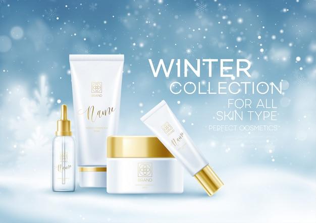Szablon tło kosmetyki zimowe. kosmetyczne tubki na zimy śnieżnym krajobrazowym tle. tło pyłu śniegu.