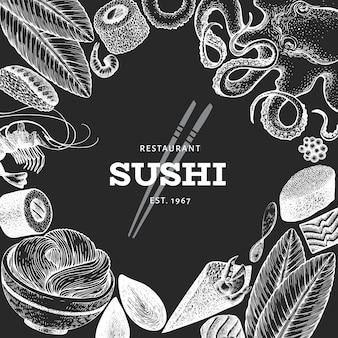 Szablon tło kuchni japońskiej