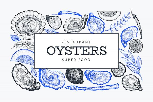 Szablon tło ostrygi i przyprawy
