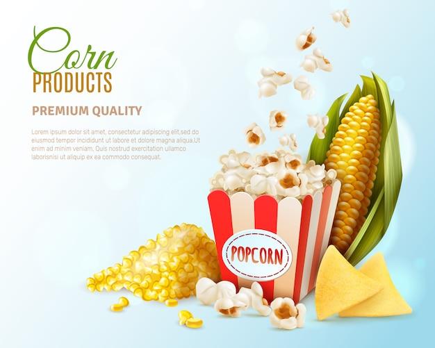 Szablon tło produkty kukurydziane