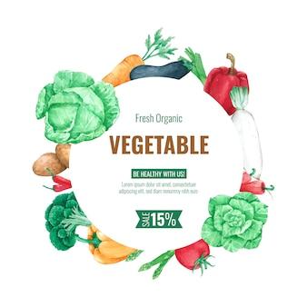 Szablon tło ramki warzyw do projektowania menu i plakat w akwareli