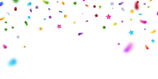 Szablon tło uroczystość z konfetti i kolorowe wstążki.