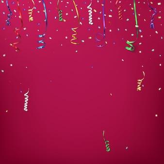 Szablon tło uroczystość z konfetti i kolorowymi wstążkami.