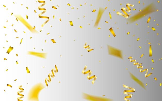 Szablon tło uroczystość z konfetti i złotymi wstążkami.