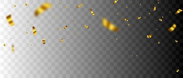 Szablon tło uroczystość z konfetti złote wstążki.