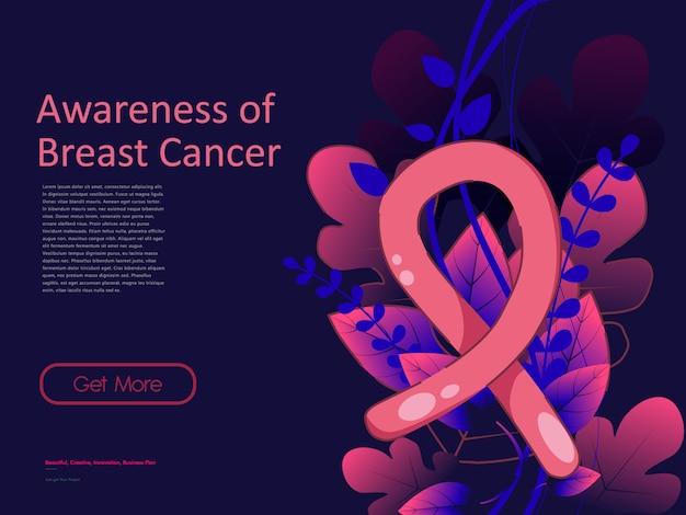 Szablon tło wstążka raka piersi