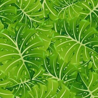 Szablon tło z zielonymi liśćmi
