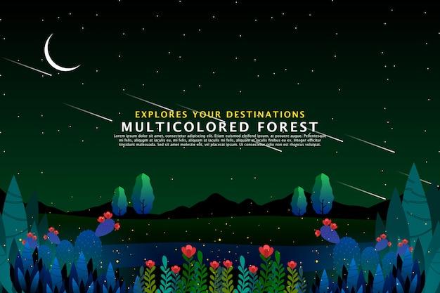 Szablon tło zielony las
