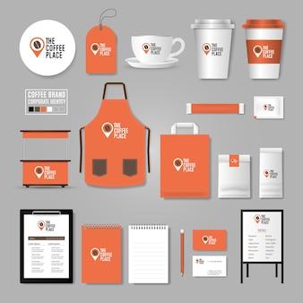 Szablon tożsamości korporacyjnej. koncepcja logo dla kawiarni, kawiarni, restauracji.