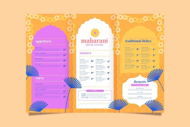 Szablon tradycyjnego menu indyjskiego