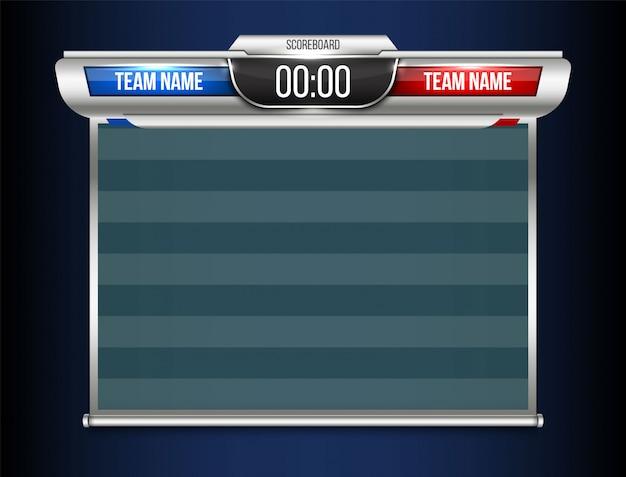 Szablon transmisji sportowej cyfrowej tablicy wyników