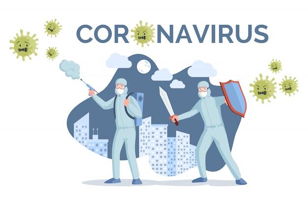 Szablon transparent coronavirus. medyczni pracownicy walczy koronawirusa mieszkania ilustrację w ochronnych maskach i kostiumach.
