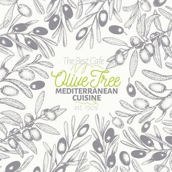 Szablon transparent drzewa oliwnego.