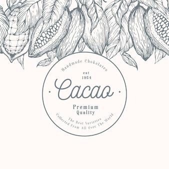 Szablon transparent drzewo kakaowe fasoli. tło czekoladowe ziarna kakaowe. wektorowa ręka rysująca ilustracja. ilustracja w stylu retro.