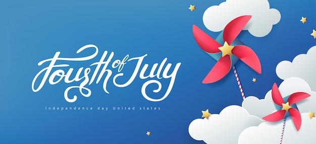 Szablon transparent dzień niepodległości usa. 4 lipca obchody