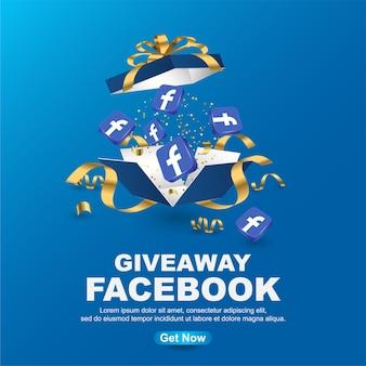 Szablon transparent facebook gratisów na niebieskim tle