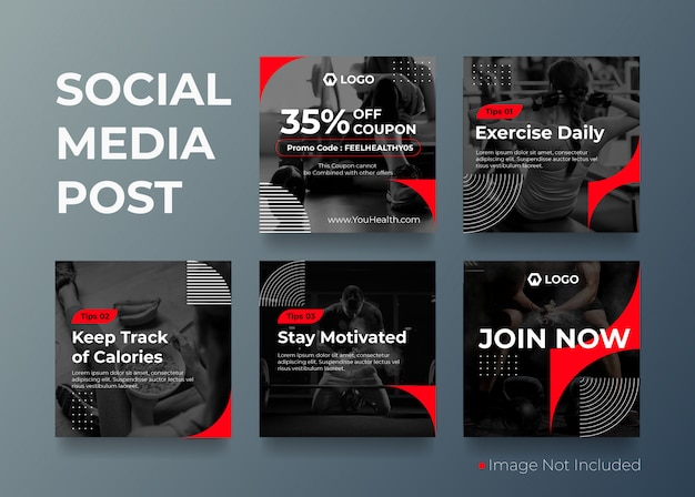 Szablon transparent fitness siłownia mediów społecznych